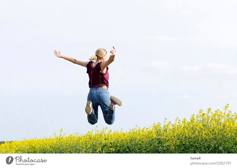 Leap into luck Joy Contentment Freedom Summer Success Young woman Youth (Young adults) Woman Adults Spring Field Movement Fitness Laughter Jump Athletic Tall