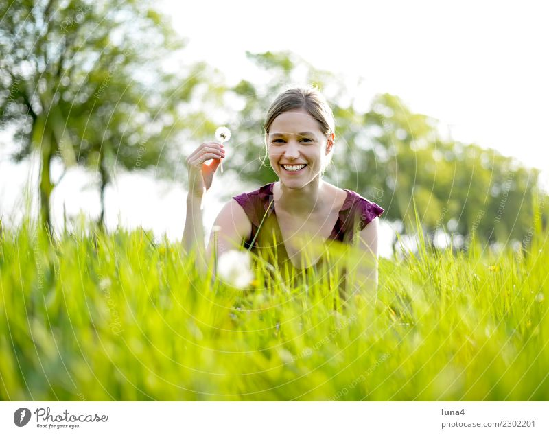 Spring 1 Contentment Relaxation Summer Young woman Youth (Young adults) Woman Adults Nature Plant Flower Meadow To enjoy Laughter Happiness Green