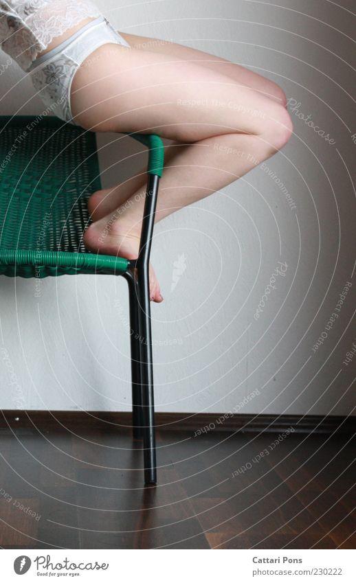 Human being Green Joy Feminine Wall (building) Legs Feet Body Sit Chair Cloth Bottom Plastic Thin Feces Fitness