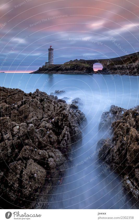 Lighthouse Phare du Petit Minou in the Bretragne, long exposure Tourist Attraction Blue Bridge Rock Waves Beautiful weather Sky coast Ocean Infinity Horizon