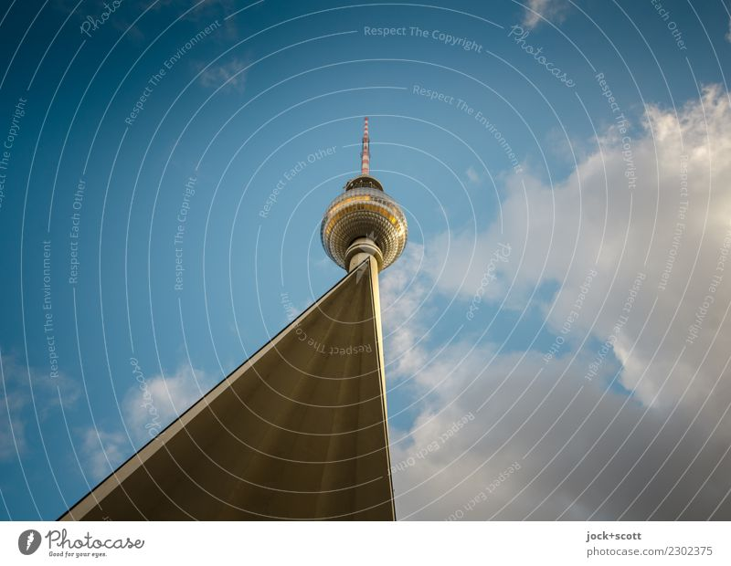 Berlin Dot Sightseeing Architecture Sky Clouds Beautiful weather Downtown Berlin Tower Manmade structures Tourist Attraction Landmark Berlin TV Tower GDR