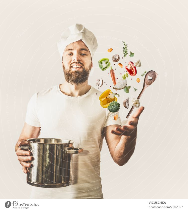 Funny cook juggles with pot, spoon and vegetables Food Vegetable Nutrition Style Joy Party Event Restaurant Human being Young man Youth (Young adults) Man