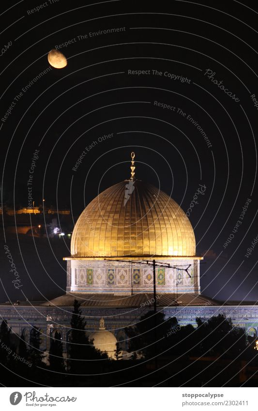 Rising moon over the Dome of the Rock Town Downtown Old town Manmade structures Architecture Tourist Attraction Exceptional Famousness Fantastic Round