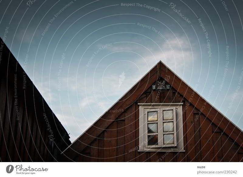 window look House (Residential Structure) Environment Nature Sky Hut Facade Window Roof Authentic Dark Fantastic Natural Point Blue Brown Moody Loneliness