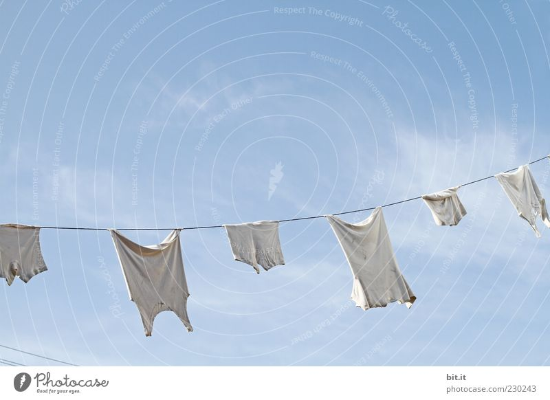 Sky White Clouds Air Fresh Clean Laundry Underpants Clothesline Suspended Undershirt Laundered Washing day