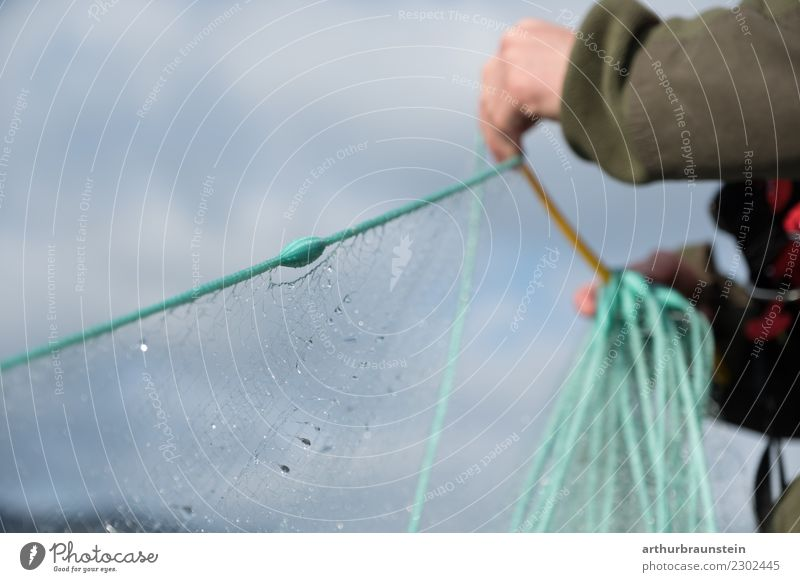 Fischer catches fish with fishing net Food Fish Nutrition Healthy Eating Leisure and hobbies Fishing (Angle) Professional training Apprentice