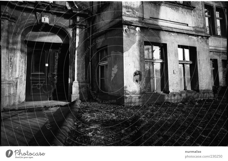 Old House (Residential Structure) Window Wall (building) Wall (barrier) Moody Door Facade Change Gloomy Transience Trashy Plaster Black & white photo Old building Stucco