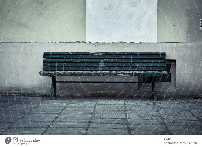 bankruptcy Wall (barrier) Wall (building) Old Dark Gloomy Loneliness Past Bench Empty Wooden bench Paving tiles Stone path Seating Colour photo Subdued colour