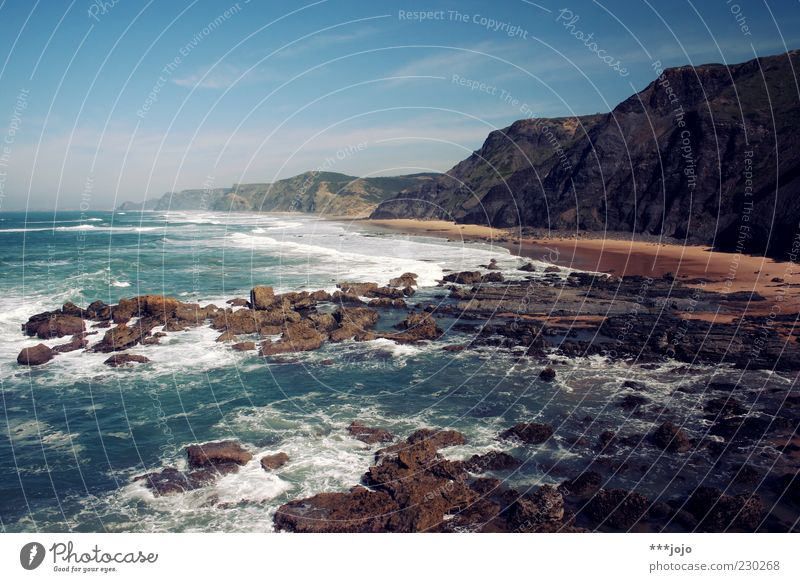 Vacation & Travel Ocean Beach Loneliness Landscape Sand Stone Coast Waves Horizon Rock Travel photography Beautiful weather Wanderlust Surf Cliff