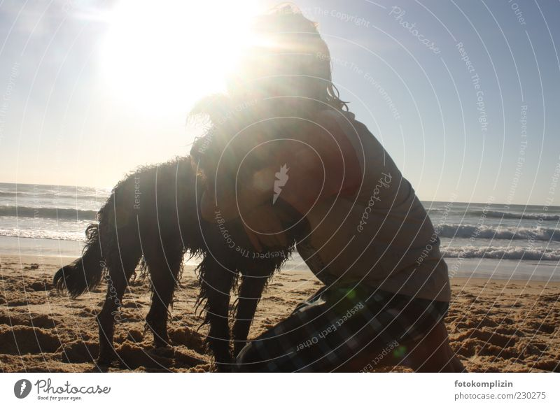 Kid hugging dog by the sea Child Summer Dog Embrace Touch To hold on Happy Together Affection Emotions Trust Safety Protection Safety (feeling of) Contact
