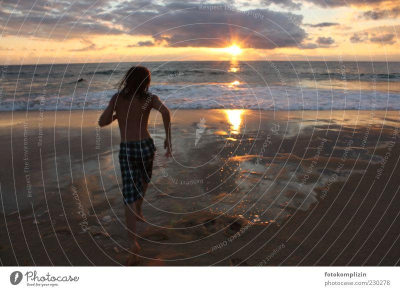 evening jump Happy Leisure and hobbies Nature Horizon Sunrise Sunset Summer Beach Ocean Water Swimming & Bathing Running Free Infinity Emotions Moody
