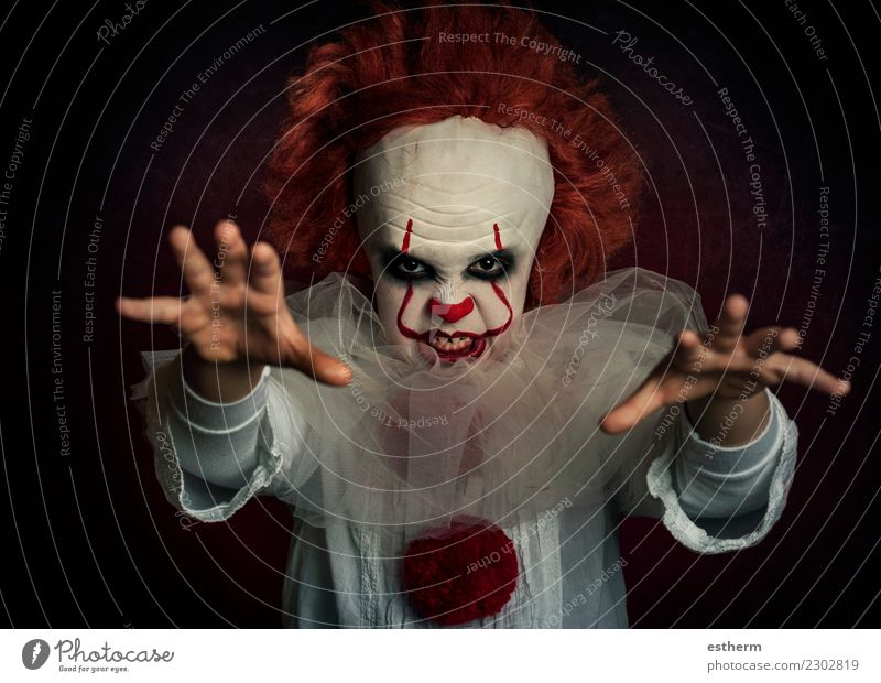 boy dressed as a clown on black background Party Event Feasts & Celebrations Carnival Hallowe'en Fairs & Carnivals Birthday Human being Masculine Infancy 1