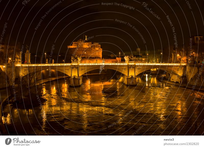 Angel castle and angel bridge in Rome at night Vacation & Travel Tourism City trip Culture Autumn Winter Capital city Downtown Castle Manmade structures