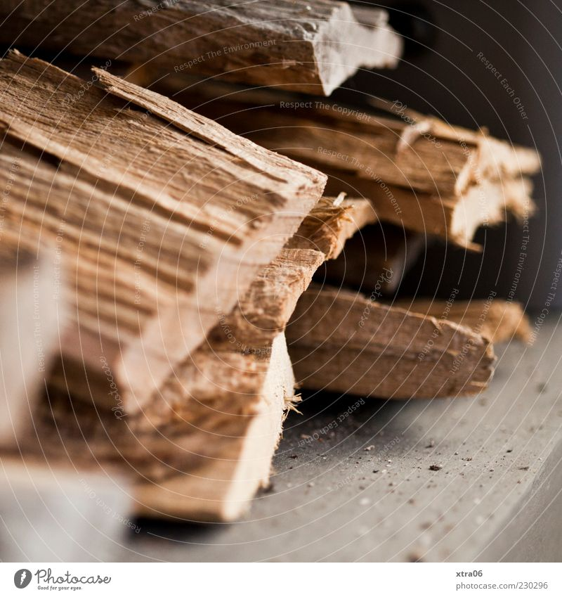 wood Wood Brown Heat Firewood Colour photo Interior shot Stack Stored Multiple Stack of wood Detail Deserted Blur Copy Space bottom