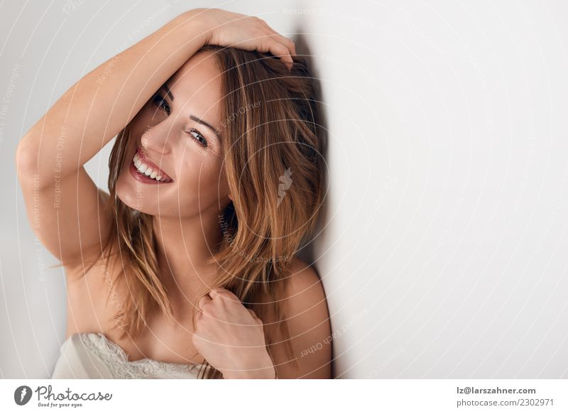 Smiling beautiful young woman with long hair Beautiful Body Skin Face Make-up Spa Woman Adults 1 Human being 18 - 30 years Youth (Young adults) Laughter Fresh