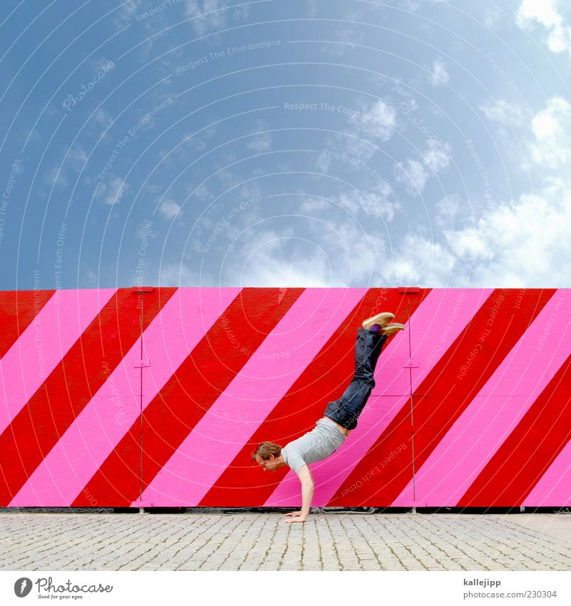 Human being Sky Man Red Clouds Adults Pink Masculine Fitness Beautiful weather Stripe Tilt Sports Training Diagonal Striped Gymnastics