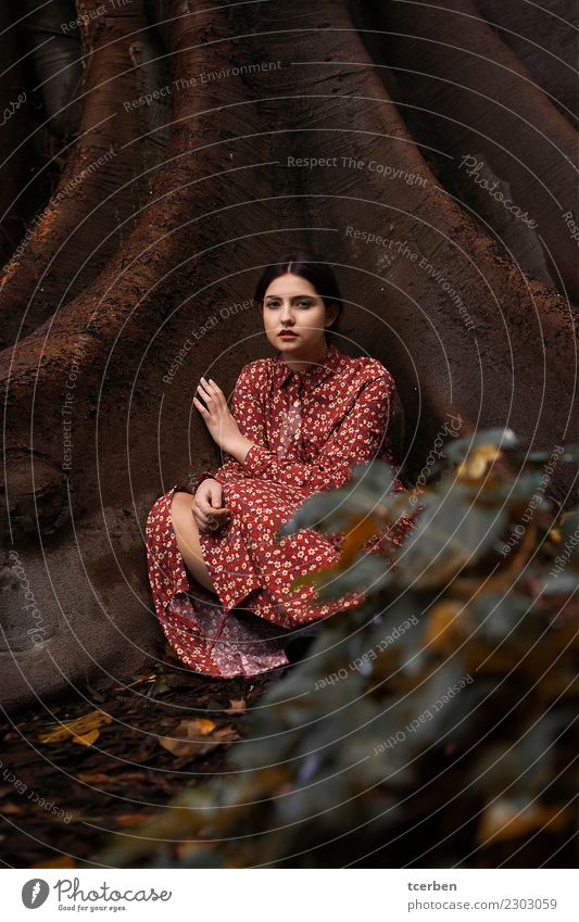 Melancholic young woman with red dress sitting on a tree trunk Human being Youth (Young adults) Young woman Beautiful Tree Red Calm 18 - 30 years Adults Sadness