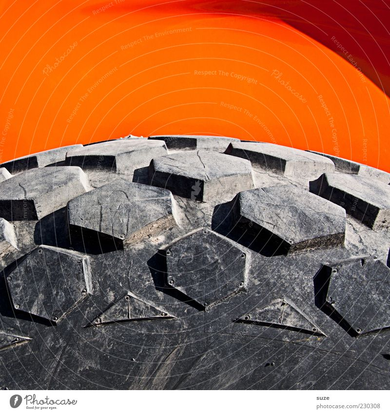 Gray Orange Large Construction site Simple Round Wheel Tire tread Rubber Construction vehicle