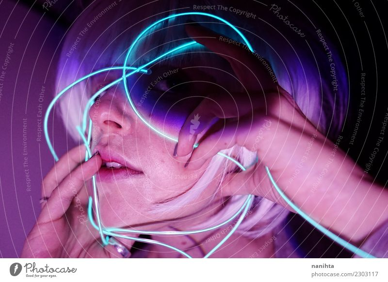 Abstract portrait with neon lights Human being Youth (Young adults) Young woman Dark 18 - 30 years Face Adults Lifestyle Feminine Hair and hairstyles Party