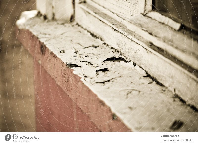 windowsill Wall (barrier) Wall (building) Window Concrete Old Window board Wood Flake off Colour photo Exterior shot Detail Deserted Day Pink White Weathered