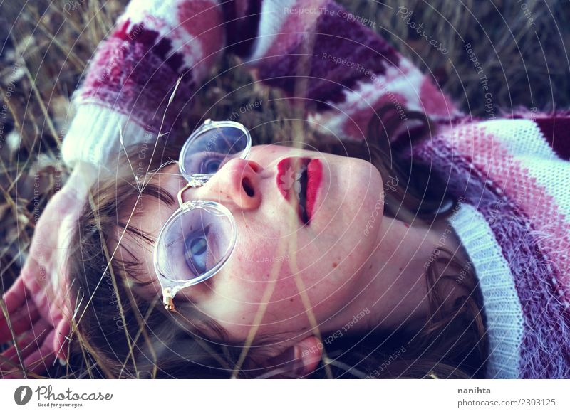 Young daydreamer woman looking away Human being Nature Youth (Young adults) Young woman Plant Beautiful Relaxation 18 - 30 years Face Adults Life Lifestyle