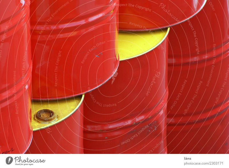 peppy tonne Economy Trade Services Energy industry Metal Glittering Yellow Red Equal Keg Spirited Colour photo Exterior shot Copy Space left Copy Space bottom