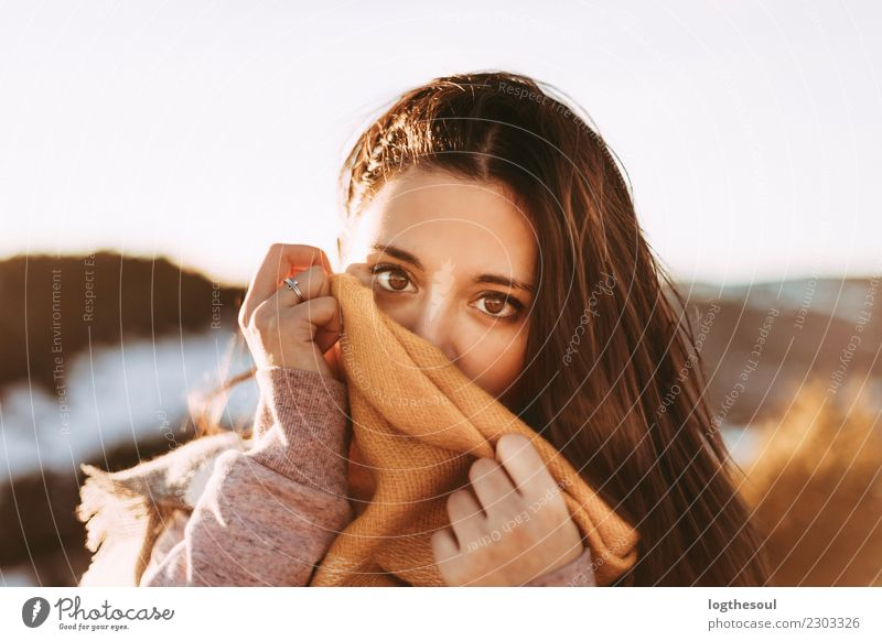 Girl covering herself with a handkerchief Lifestyle Healthy Vacation & Travel Human being Feminine Young woman Youth (Young adults) Woman Adults Friendship Skin