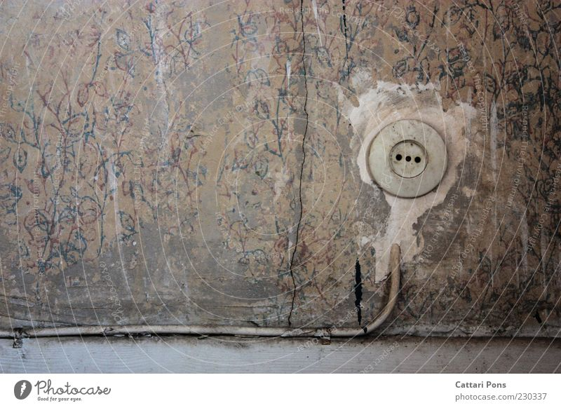 time Socket Wallpaper Room setup Pattern Scratched Old Gray White Broken Cable Colour photo Interior shot Copy Space left Day Wallpaper pattern