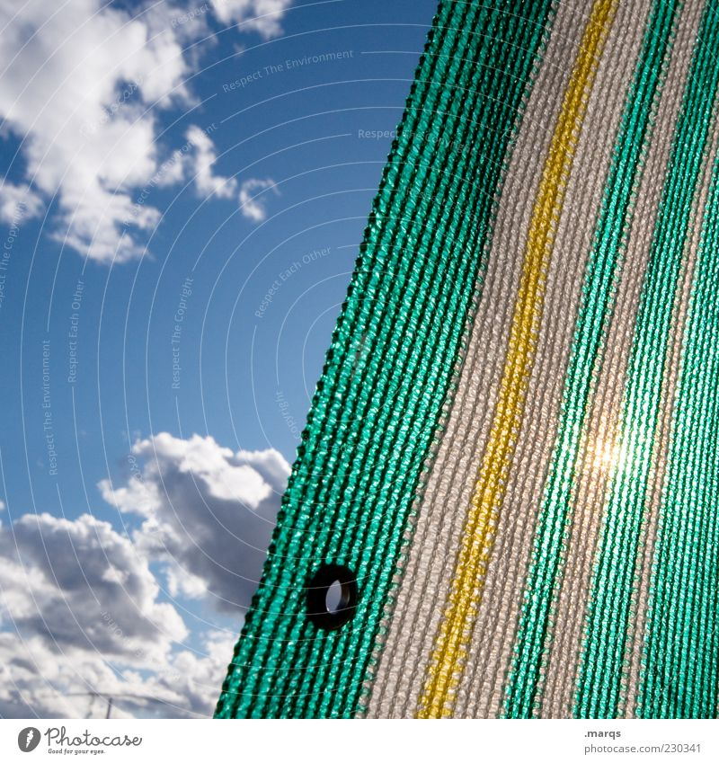 comeback Relaxation Sky Clouds Sunlight Beautiful weather Stripe Sun blind Covers (Construction) Blue Yellow Green Colour photo Exterior shot Close-up