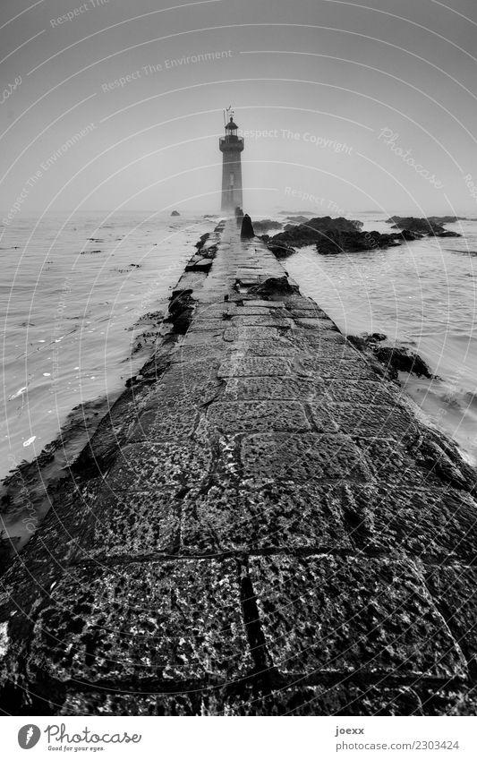 Sky Old White Black Lanes & trails Coast Retro Hope Protection Safety Wanderlust Lighthouse Maritime Homesickness Stone slab