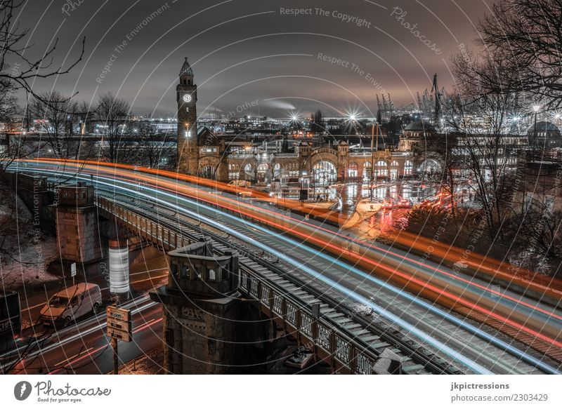 Hamburg Landungsbrücken Underground Light Tracks Europe Germany Elbe Town Harbour Water Channel Winter Industry Clouds Sky Snow Wet Watercraft Footbridge Cold