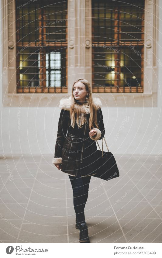Young woman in winter outfit Elegant Style Feminine Youth (Young adults) Woman Adults 1 Human being 18 - 30 years Beautiful Fashion Winter Winter coat