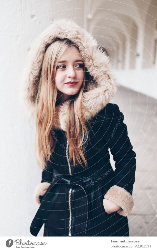 young woman with warm winter jacket Lifestyle Style Feminine Young woman Youth (Young adults) 1 Human being 18 - 30 years Adults Fashion Beautiful synthetic fur