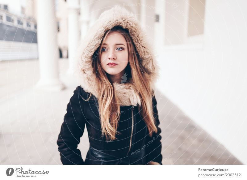 young woman with warm winter jacket Lifestyle Style Feminine Young woman Youth (Young adults) 1 Human being 18 - 30 years Adults Fashion Clothing Beautiful