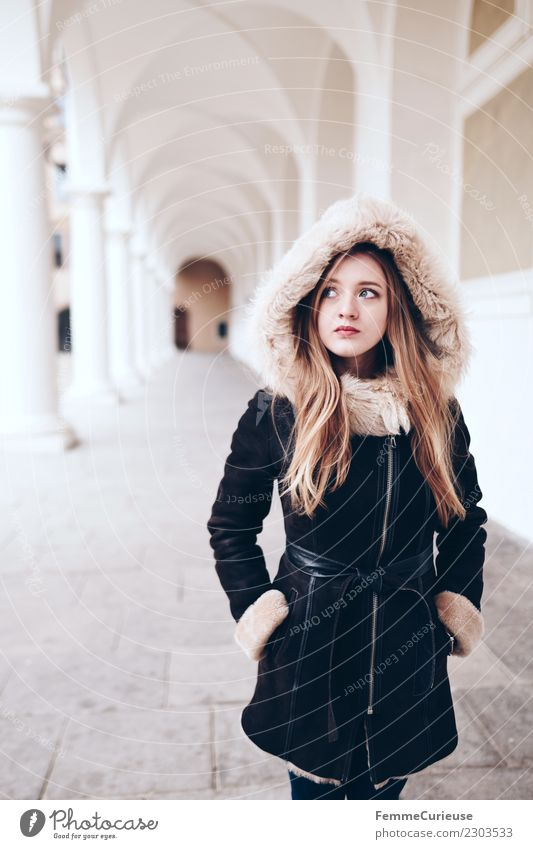 Young woman is standing in a hallway with white columns Lifestyle Elegant Style Feminine Youth (Young adults) Woman Adults 1 Human being 18 - 30 years Beautiful