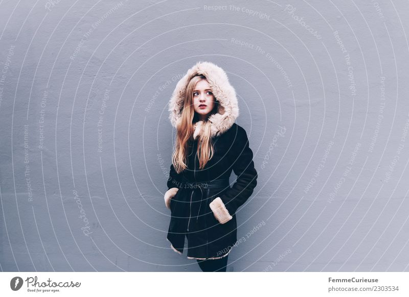 Young woman wearing a winter coat Lifestyle Elegant Style Feminine Youth (Young adults) Woman Adults 1 Human being 18 - 30 years Beautiful City life Winter coat