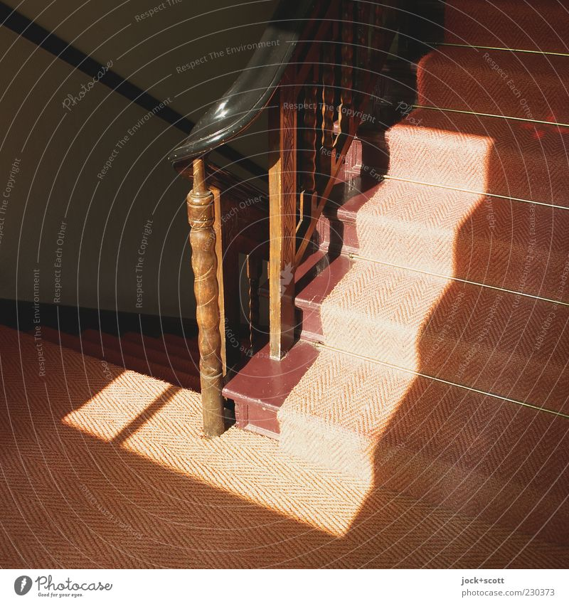 sunny - angle - stair Architecture Stairs Handrail Staircase (Hallway) Banister Wood Ornament Line Stripe Illuminate Old Esthetic Dark Sharp-edged Firm Bright