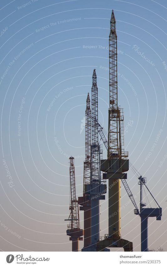 Blue Calm Brown Large Stand Logistics Harbour Economy Competition Stagnating Crane Shipyard Dockside crane Dockyard crane