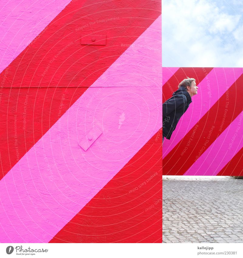 Human being Man Red Adults Head Pink Masculine Design Stripe Diagonal Fence Cobblestones Barrier Tilt Striped Shadow