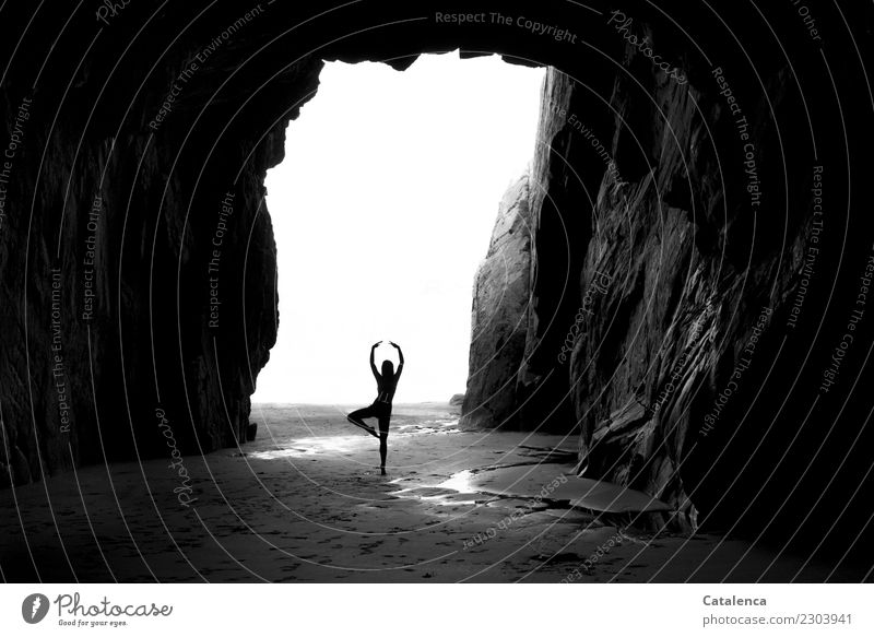 Dancing mood Feminine 1 Human being Landscape Water Summer Beautiful weather Rock Coast Beach Ocean Cave Movement Dance Large Cold Maritime Gray Black White