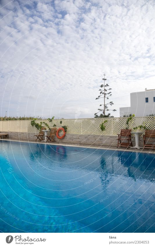 Land in sight Sky Clouds House (Residential Structure) Wall (barrier) Wall (building) Blue Turquoise Tourism Vacation & Travel Swimming pool Colour photo
