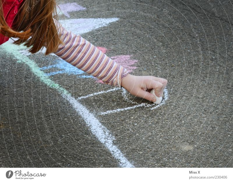 Human being Child Hand Girl Joy Colour Street Playing Hair and hairstyles Art Infancy Leisure and hobbies Arm Happiness Cute Asphalt