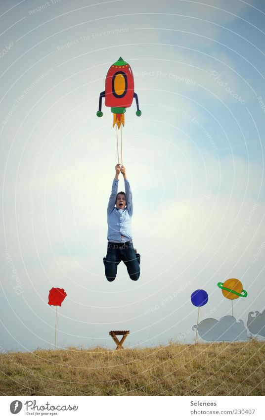 quick start Leisure and hobbies Adventure Astronautics Human being Masculine Sky Moon Grass Rocket Flying Jump Wanderlust Creativity Mobility Whimsical Universe