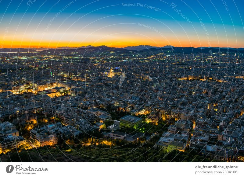 Sunset over Athens Vacation & Travel Tourism Far-off places Sightseeing City trip Summer Summer vacation Sky Sunrise Sunlight Greece Europe Capital city
