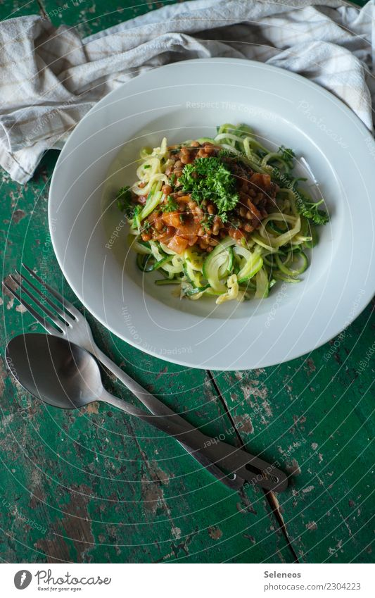 courgette noodles Food Vegetable Herbs and spices Zucchini Lentils Parsley Noodles Nutrition Eating Lunch Dinner Organic produce Vegetarian diet Diet Fasting