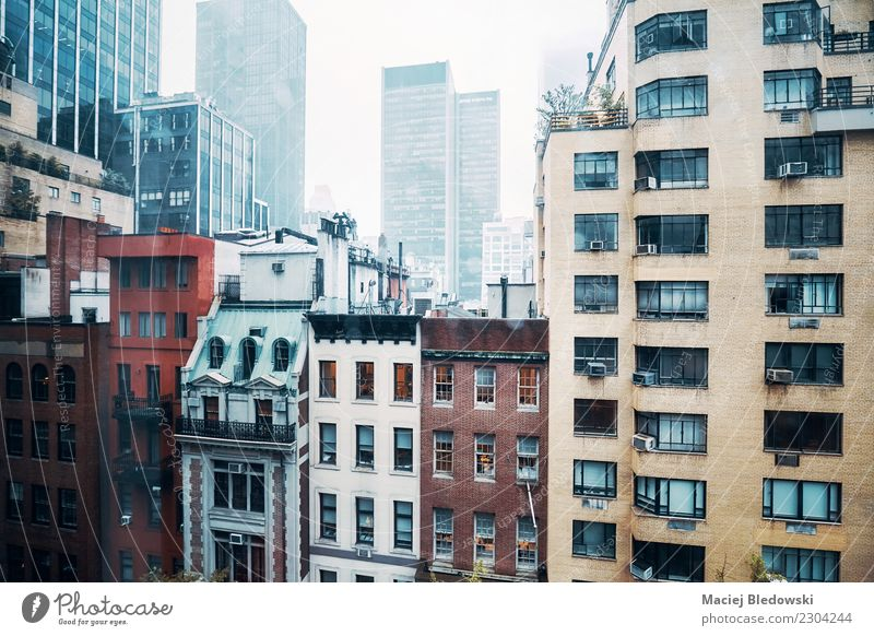 Midtown Manhattan on a rainy day. Flat (apartment) House (Residential Structure) Rain High-rise Building Architecture Facade Old Sadness Retro Grief