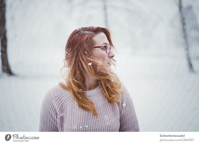 Winter Portrait 2 Human being Feminine Young woman Youth (Young adults) Woman Adults Hair and hairstyles 1 18 - 30 years Clouds Snow Snowfall Meadow Sweater