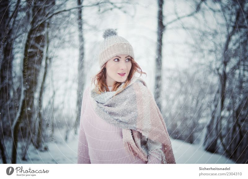 Winter portrait Human being Feminine Young woman Youth (Young adults) Woman Adults 1 18 - 30 years Snow Snowfall Sweater Scarf Cap Cold Blue Pink Curiosity