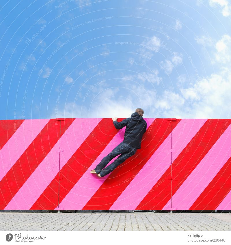 Looking to the future Human being Masculine Man Adults 1 Hang Pink Red Fence Barrier Climbing Curiosity Stripe Line Direction Sky Clouds Vantage point