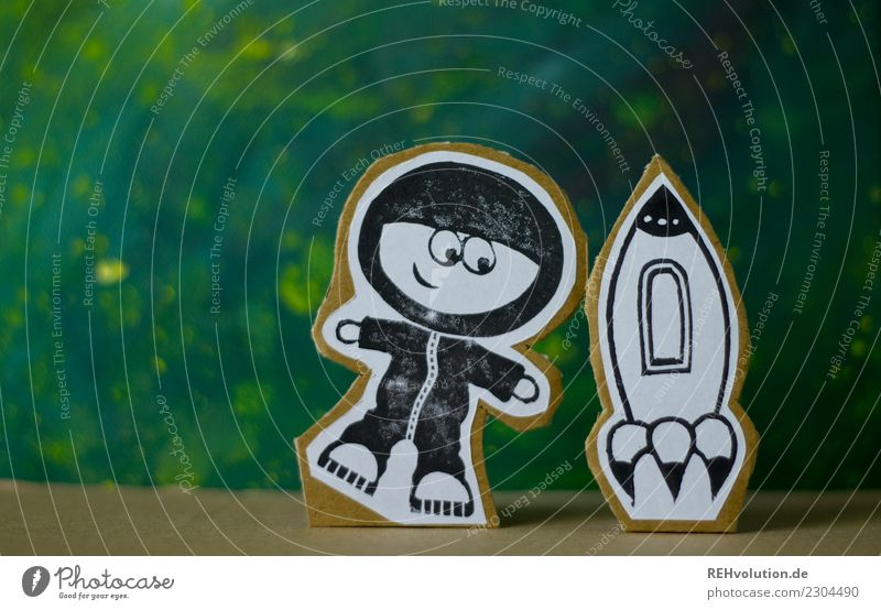 Pappland Astronaut with rocket. Education Profession Human being Body 1 Toys Flying Hover Creativity Cardboard Comic strip character Figure Rocket Universe